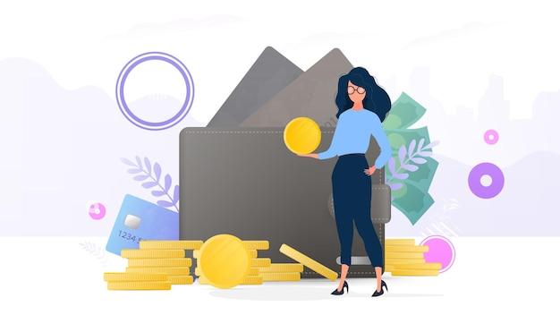 As meninas têm uma moeda de ouro. montanha de moedas, cartão de crédito, carteira, dólares. o conceito de poupança e acumulação de dinheiro. bom para apresentações e artigos relacionados a negócios.