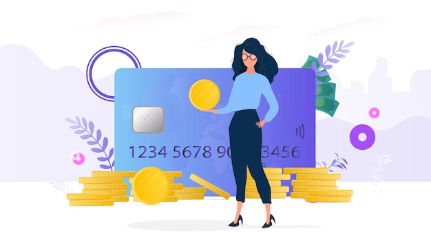 As meninas têm uma moeda de ouro. montanha de moedas, cartão de crédito, dólares. o conceito de poupança e acumulação de dinheiro. bom para apresentações e artigos relacionados a negócios.