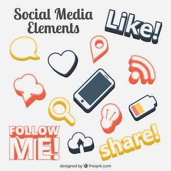 As mídias sociais símbolos do elemento