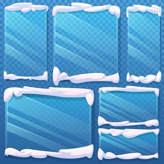 As molduras de vidro das tampas de neve estão congeladas