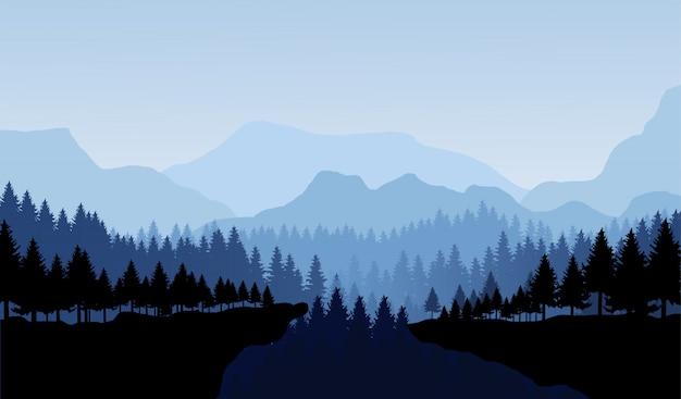 As montanhas e o panorama da floresta vector a ilustração da paisagem.