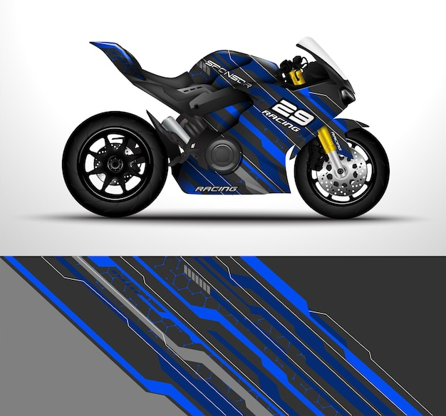 As motocicletas esportivas de corrida envolvem um decalque e um design de adesivo de vinil.