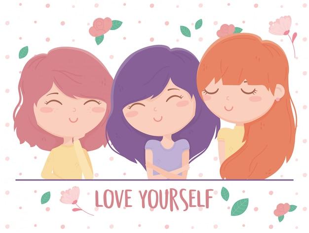 As mulheres bonitas flores amam-se personagens dos desenhos animados