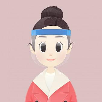 As mulheres coreanas dos desenhos animados usam um escudo facial para proteger contra o coronavírus ou o covid-19