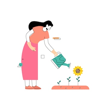 As mulheres crescem girassóis no jardim na primavera