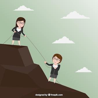 As mulheres de negócios caracterizam trabalhando junto