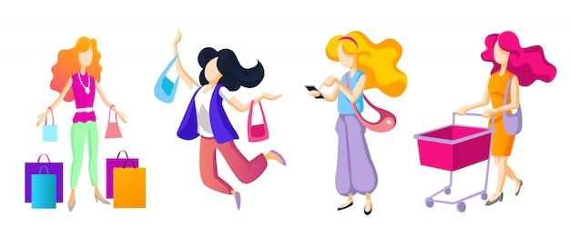 As mulheres estão comprando alegremente.