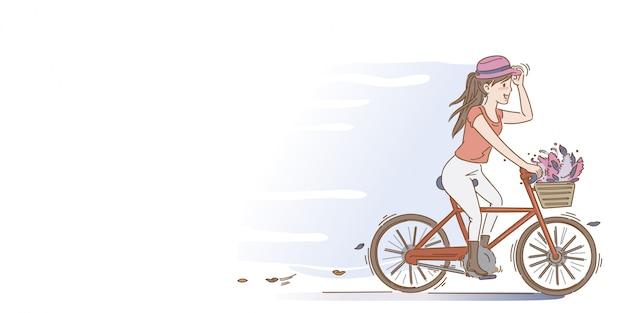 As mulheres estão pedalando. bicicleta de equitação feminina na rua do parque na noite de verão. estilo de desenho de mão.