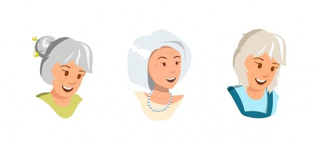 As mulheres idosas ajustadas do vetor do vetor exultam a sensação feliz.