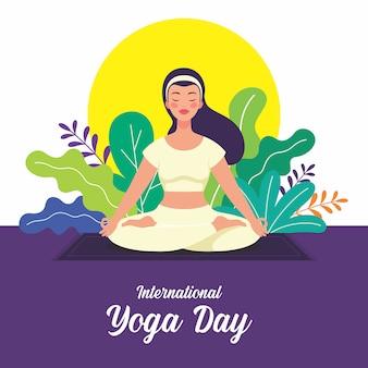 As mulheres jovens que praticam padmasana yoga exercitam-se no dia internacional da ioga em junho. ilustração de um personagem fazendo yoga. ioga tradicional indiana.