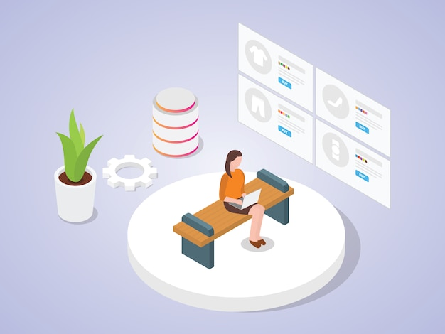 As mulheres usam laptop compras on-line, olhando a aplicação de comércio eletrônico de catálogo com estilo cartoon plana de desenho isométrico
