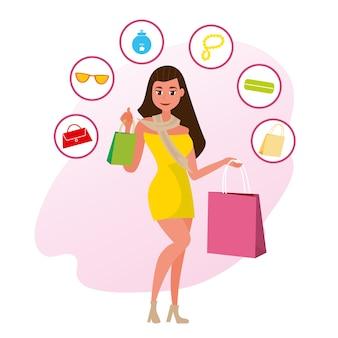 As namoradas do conceito de compras na loja de estilo