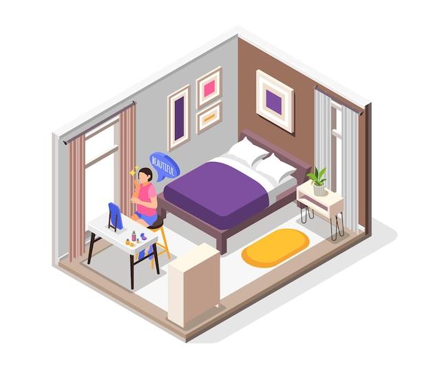 As necessidades humanas de composição isométrica com ilustração de símbolos de conforto e beleza para dormir