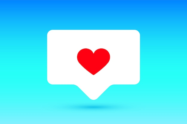 As notificações assinam como, balão de fala. como símbolo com coração, um gosto e sombra para rede social