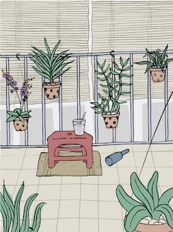 As orquídeas na varanda Vetor Premium
