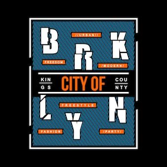 As palavras cortaram o design tipográfico da camisa de t de brooklyn