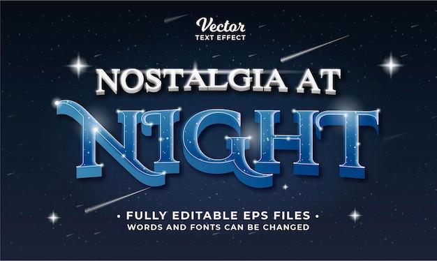 As palavras e fontes editáveis do efeito de texto noturno em eps cc podem ser alteradas