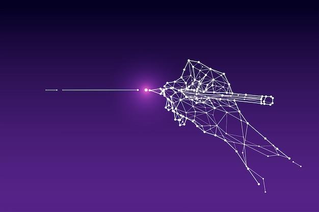 As partículas, arte geométrica, linha e ponto da linha de desenho da mão.