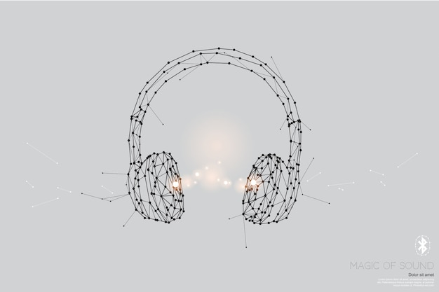 As partículas, arte geométrica, linha e ponto de fone de ouvido.