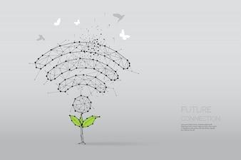As partículas, arte geométrica, linha e ponto de resumo de símbolo sem fio