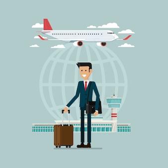 As partidas de avião viajam céu e pessoas de homem de negócios com malas, ilustração vetorial