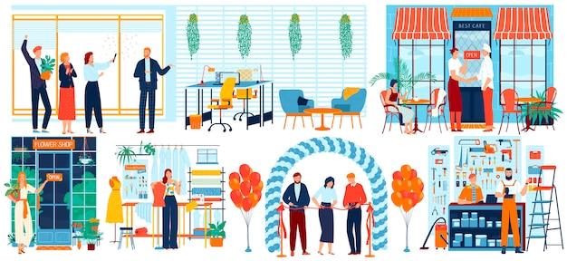 As pessoas abrem ilustração de negócios, empresário dos desenhos animados, corte a fita vermelha no evento de inauguração, segurando ícones de sinal aberto