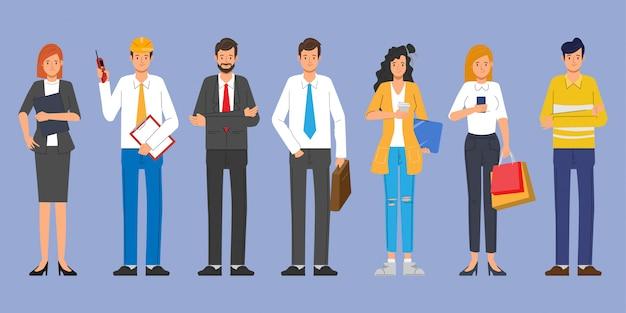 As pessoas agrupam caracteres diferentes no trabalho de ocupação definido. dia internacional do trabalho.