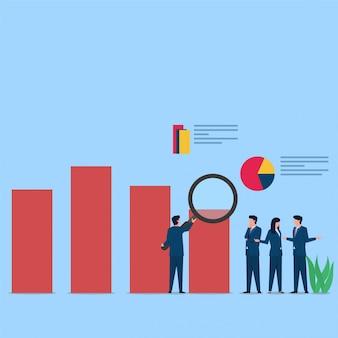 As pessoas analisam o gráfico e discutem para o desenvolvimento. ilustração de conceito plana de negócios.