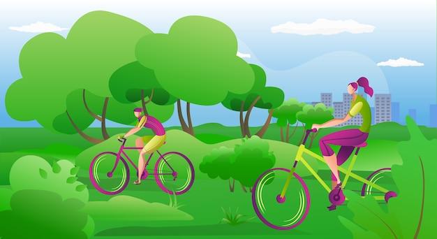 As pessoas andam de bicicleta ao ar livre no verão