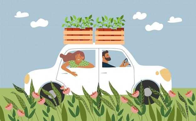 As pessoas andam de carro para plantar mudas no jardim.