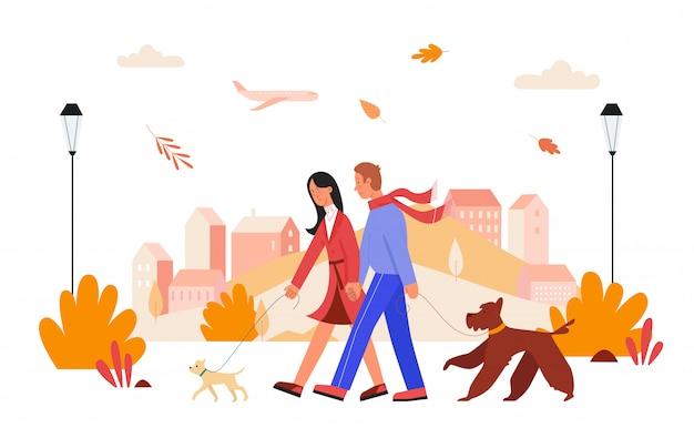 As pessoas andam na ilustração de dia de cidade de outono. desenhos animados, homem, mulher, amante, casal, personagens de mãos dadas, caminhando com cachorros de estimação na paisagem urbana de outono, relacionamento amoroso em branco