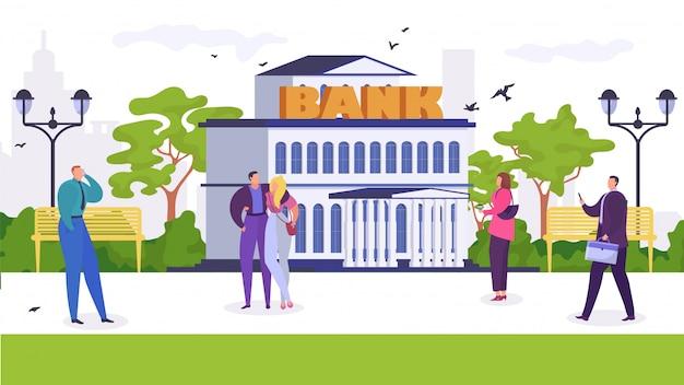 As pessoas andam no parque perto da ilustração dos desenhos animados do banco.