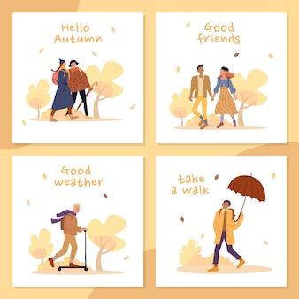 As pessoas apreciam a vida durante o conjunto de cartões de clima outono