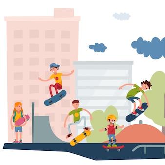 As pessoas ativas do skatista estacionam a ilustração truques de salto urbanos exteriores ativos extremos do skate urbano do esporte.