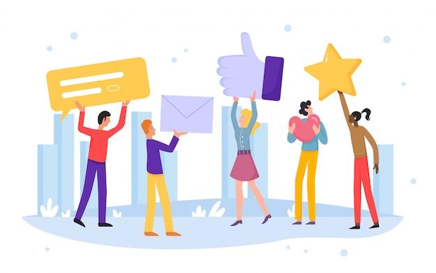 As pessoas avaliam a ilustração online. personagens de desenhos animados dos clientes deixam feedback positivo de recomendação, estrelas de avaliação, boas avaliações, comentários ou curtidas no conceito de mídia social em branco