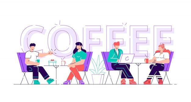 As pessoas bebem café motivação tipografia banner. homem e mulher falando na mesa de café no panfleto de publicidade. conceito criativo de almoço para cafeteria imprimir cartaz estilo simples ilustração dos desenhos animados