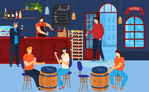 As pessoas bebem vinho ilustração.