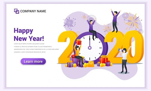 As pessoas celebram o ano novo perto do grande relógio e do grande símbolo 2020 números landing page