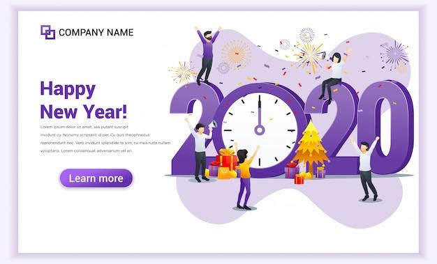 As pessoas celebram o ano novo perto do grande relógio e grande símbolo 2020 números banner