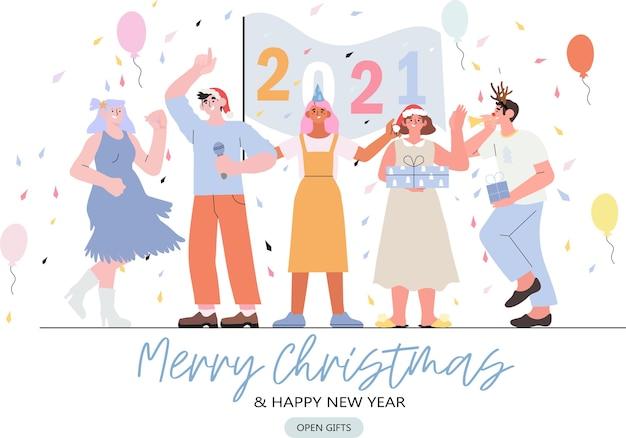 As pessoas celebram o natal e o ano novo