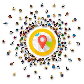 As pessoas cercam o ponto de coleta de localização. ilustração vetorial