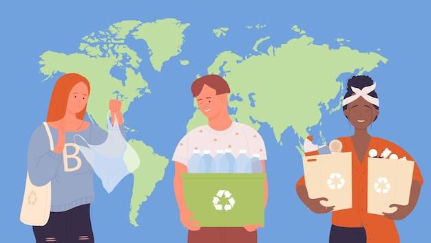 As pessoas classificam a reciclagem de lixo lixo para salvar o cuidado planeta terra segurando lixeira