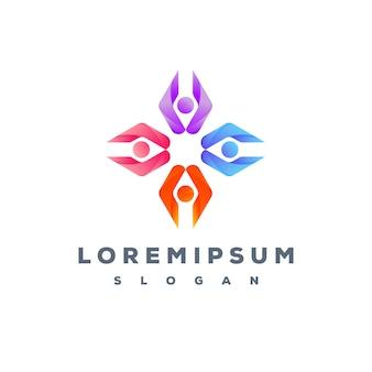 As pessoas coloridas se importam design de logotipo