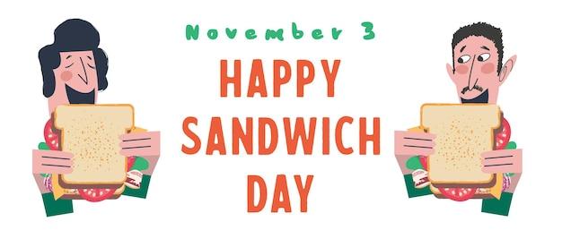 As pessoas comem um sanduíche muito grande. ilustração em vetor engraçada em estilo cartoon plana