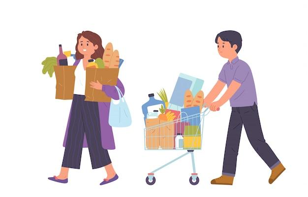As pessoas compram as necessidades diárias do supermercado