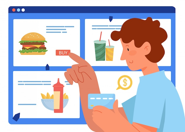 As pessoas compram ilustração online. personagem de comprador homem de desenho animado segurando o cartão de pagamento na mão, pedindo e comprando fastfood em um supermercado ou pizzaria online, plano de fundo de serviço de entrega de comida
