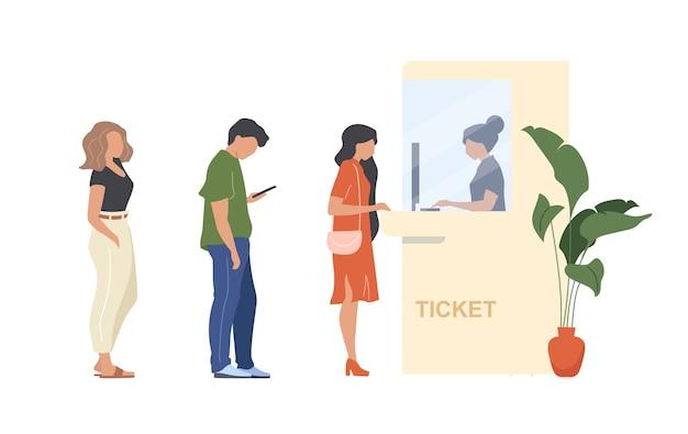 As pessoas compram ingressos personagens sem rosto de cor lisa. fila para cabine de admissão. pessoa espera na multidão. reserva de passe de serviço isolado ilustração dos desenhos animados para animação e design gráfico da web