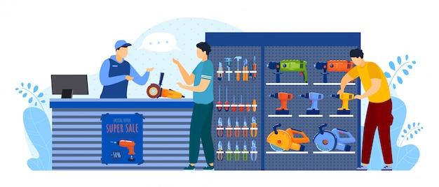 As pessoas compram na ilustração de loja de ferramentas, personagens de cliente comprador homem plana dos desenhos animados, comprando equipamentos para caixa de ferramentas de reparo de casa