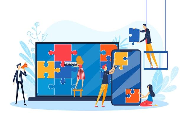 As pessoas conectam a ilustração do quebra-cabeça do projeto.