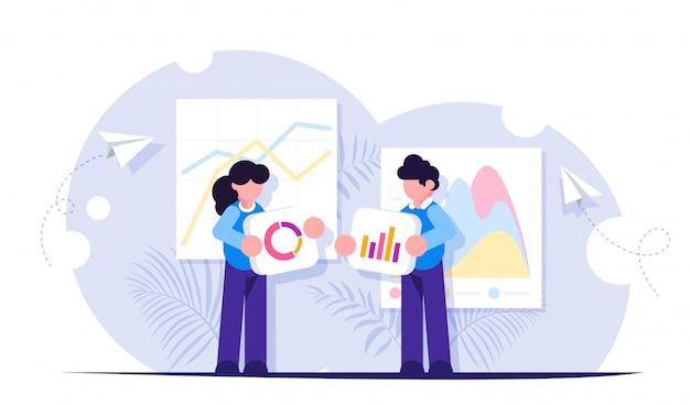 As pessoas constroem um painel e interagem com gráficos. análise de dados e situações de escritório.